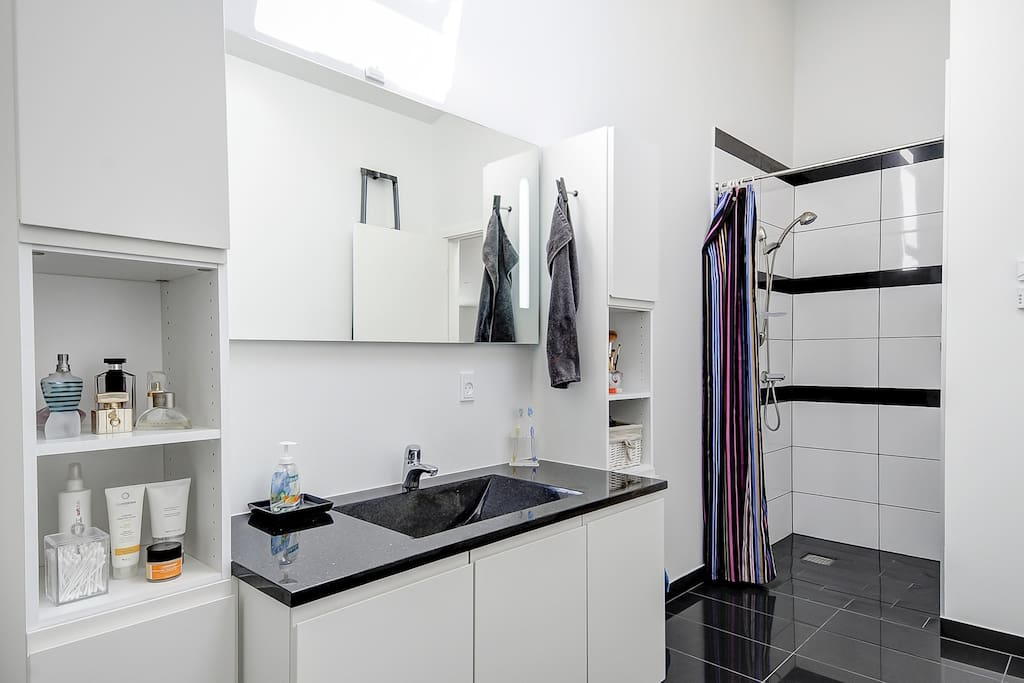 Big bathroom with shower, toilet, washing machine and tumble drier.