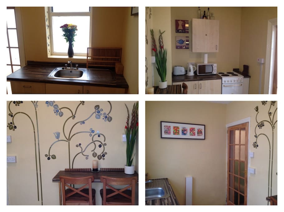A Collage of pictures of the Kitchen