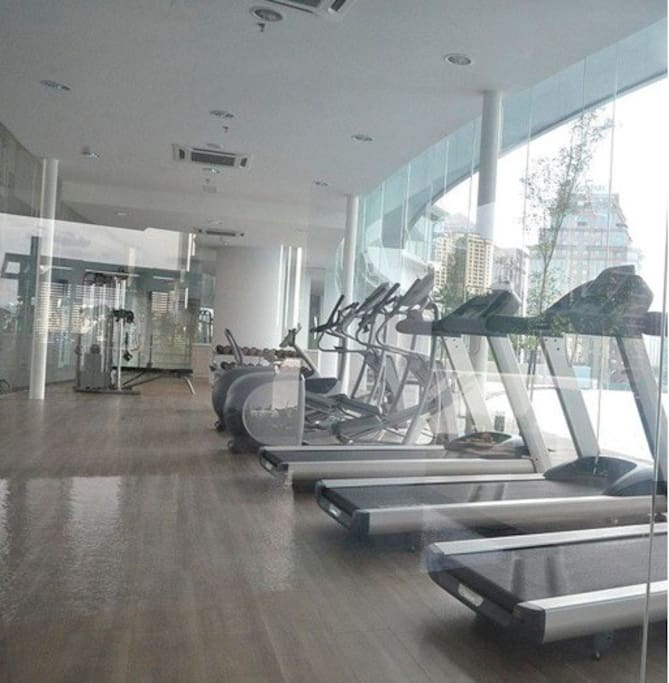 Spacious glass wall Gym in recreational area