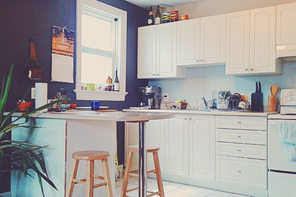 Feel free to use the kitchen while you stay! It is definitely encouraged!! It is open and spacious, bright, and super fun to hang out in! Help yourself to all the pots, pans, utensils, oils and spices! We even have cupboard and fridge space reserved just