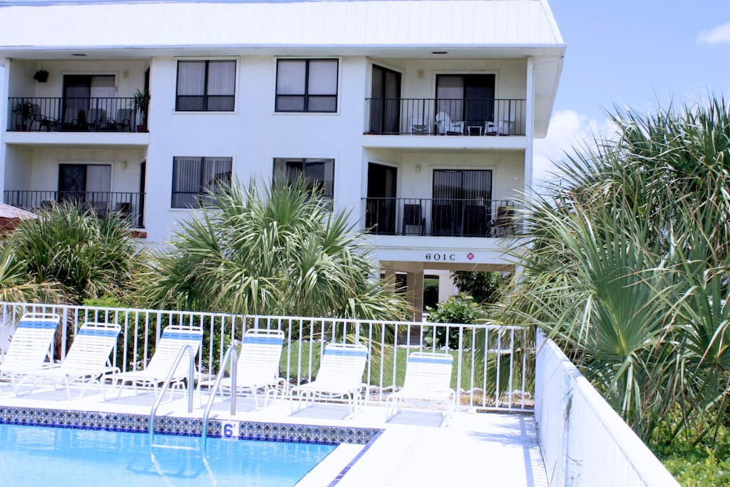 The Beach View 209 is the top left condo