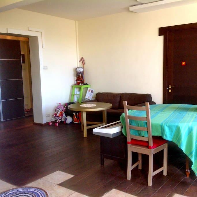 Вид из кухни на общую гостиную
