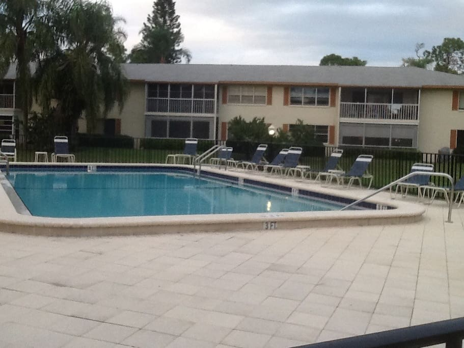 Pool directly across from condo