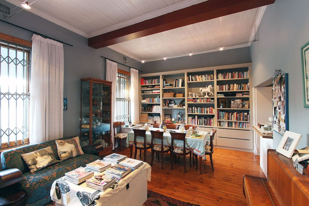 Library and dining room.