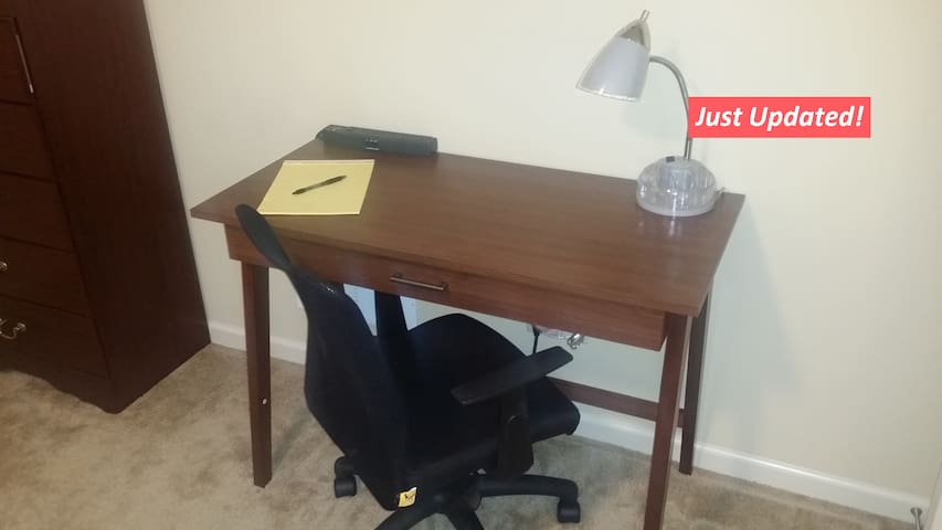The updated work desk and lamp for the business types.
