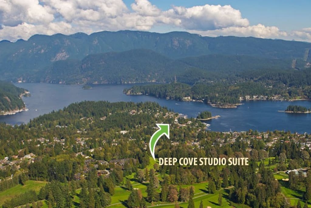 Beautiful Deep Cove. And the studio is just a seven minute walk to the beach.