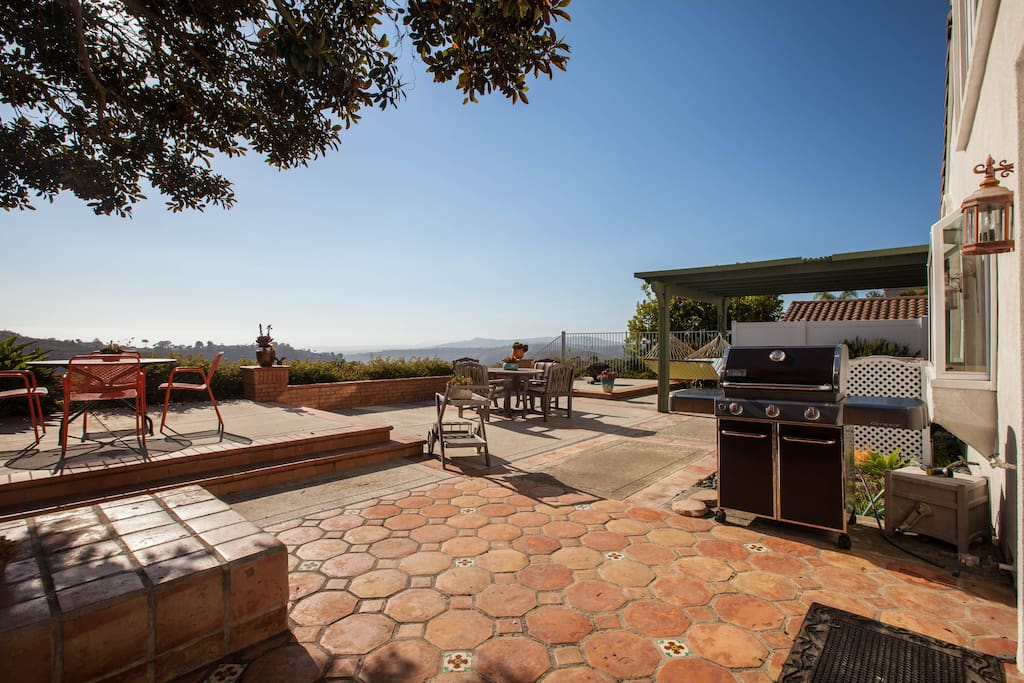 Our back patio offers a place to relax, eat, catch some sun, and enjoy the views.