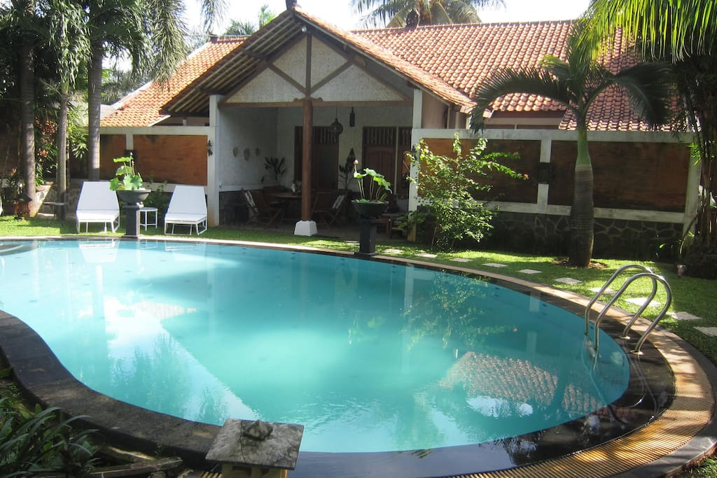 A 5x10 pool with its own house that has a bedroom, jacuzzi tub bathroom and shower, treadmill.