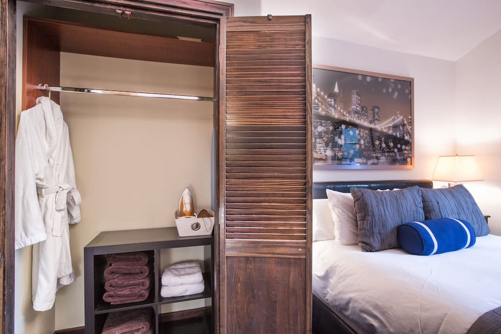 view of spacious closet with guest Bath Robe to use during stay
