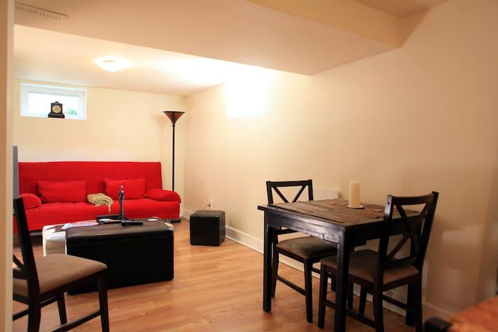 Bright bsmt apartment near Alberta