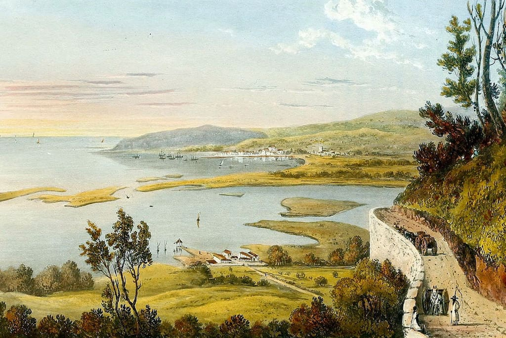 The Wharf House...as depicted from Long Hill by James Hakewill in 1821