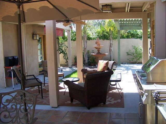 Restful lounging patio area.