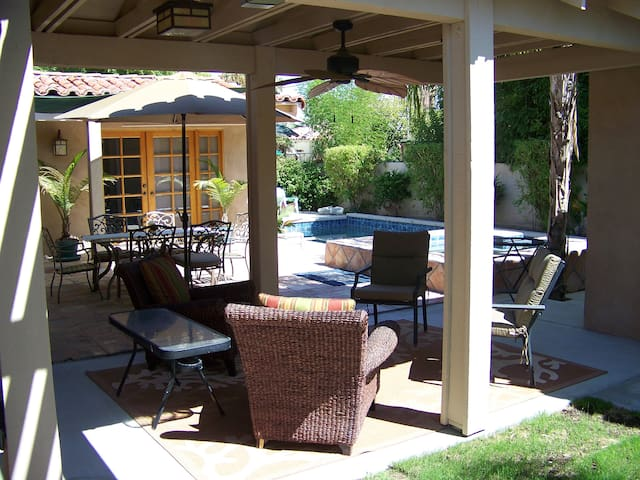 Shaded covered patio areas.