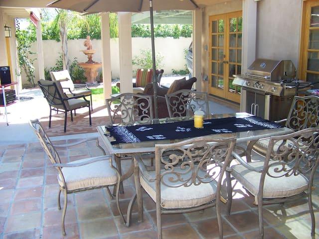 Outdoor patio dining area.