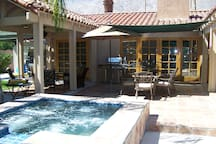 Private and soothing heated spa awaits you year round.