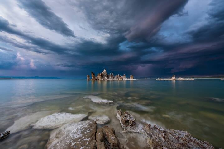 Mono Lake (only 20 miles from here) - popular destination for stargazing, bird watching and photo ops in any weather or season..