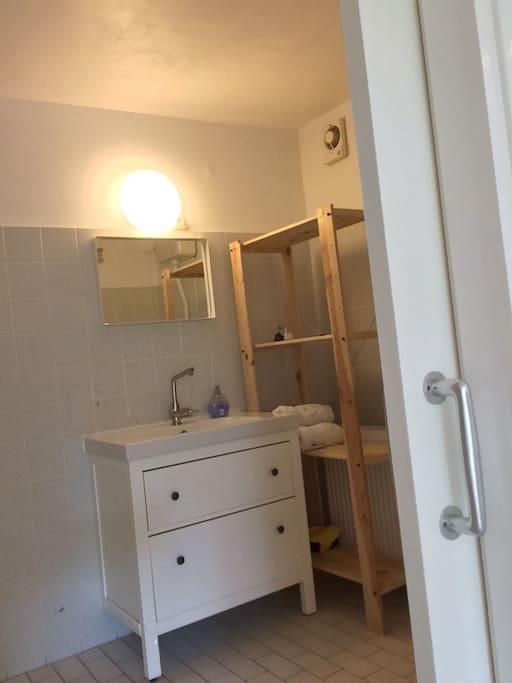 Badkamer met zeer ruime douche en toilet