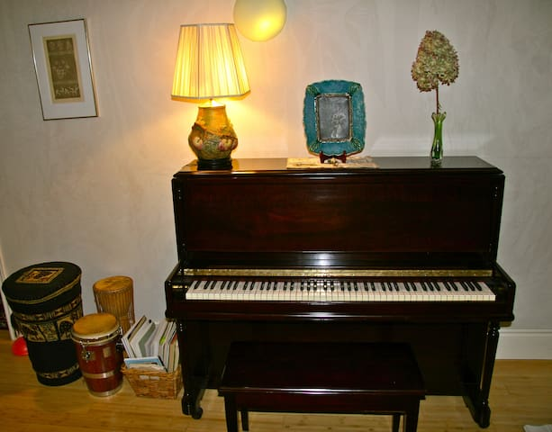If you like to play piano, pick up percussion instruments help yourself.