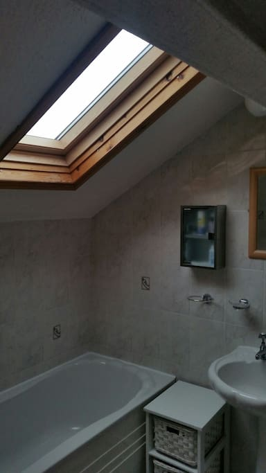 En suite bathroom with velux window, power shower and bath.