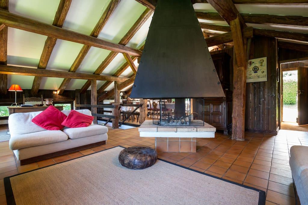 Spacieux salon, avec une belle cheminée chaleureuse