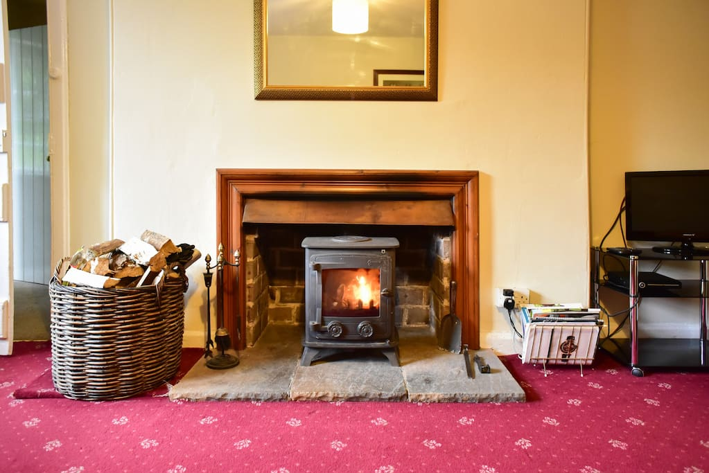 Willowherb sitting room with wood burning stove