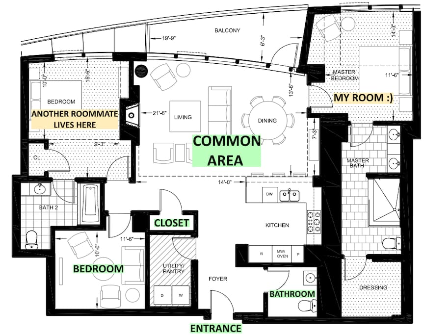 Floor Plan (green items are for your use)