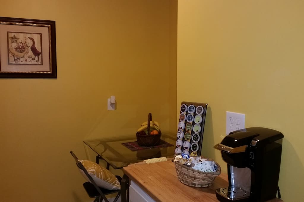 The shared kitchen is equiped with a self-serve continental breakfast.