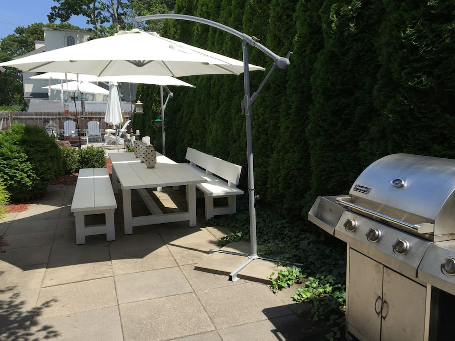 Backyard dining oversize custom Table & Grill.