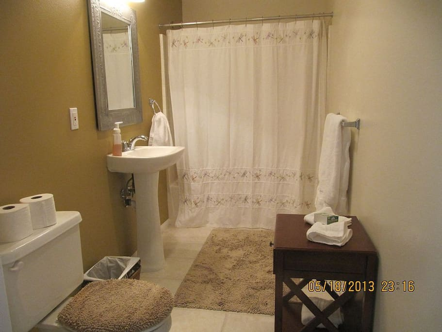 Hall bath is spacious  with shower over tub