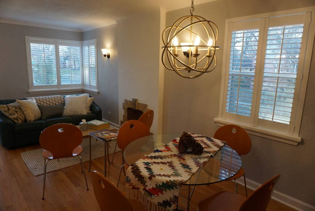 Cozy, trendy living and dining room