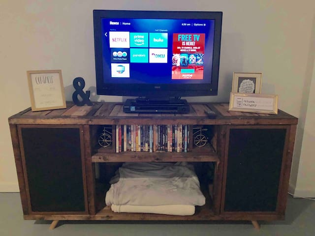 TV with DVD player and Roku with Netflix, Hulu, and Amazon Prime Video access