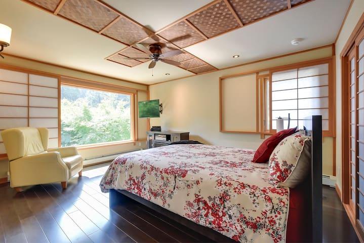 Suite overlooks Japanese garden