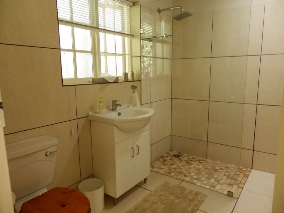 bathroom with large glass shower