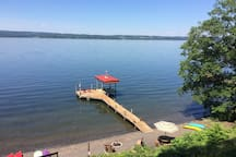 Over 100 feet of lake front and dock to enjoy.  Beach front has a campfire pit and horseshoes.