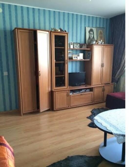 salon/second bedroom with sofa-bed/svetainė-antras miegamasis su sofa-lova