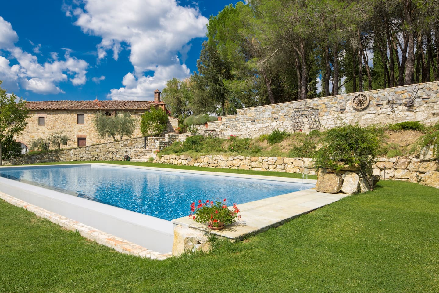 The villa overlooks the eternity pool with salt system shared with the owners