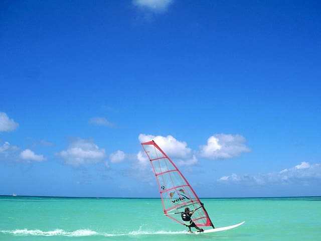 Aruba is excellent for wind- & kitesurfing. At a few minutes driving from our Aruba Villa, you'll find several surfing schools.