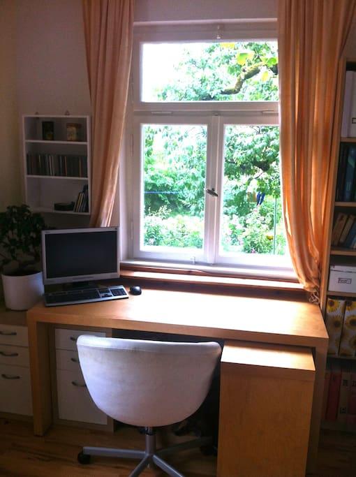 Platz zum Arbeiten mit Blick in den Garten...