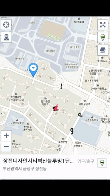 LOCATION OF THE APARTMENT, -RED POINT, 1,2,3, ARE SMALL GATE
