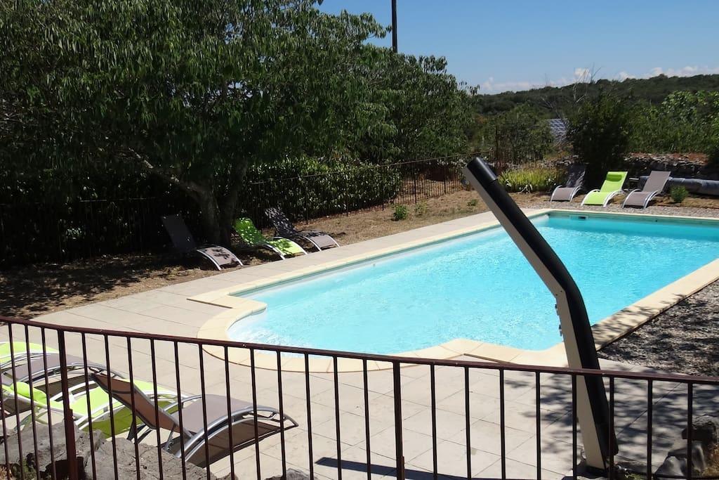 Grande piscine sécurisée de 10 m x 5 m. Espace solarium.