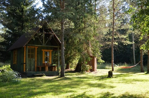 Lille skov EcoHouse nær floden Jägala