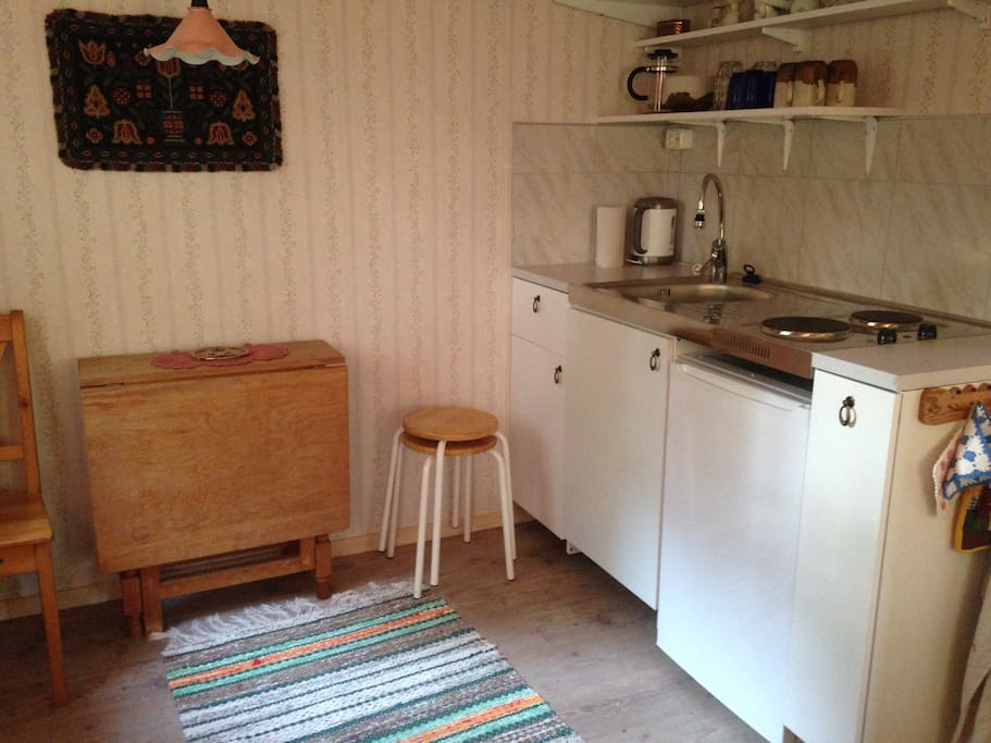 Small selfcontained kitchenette with refrigerator in the livingroom