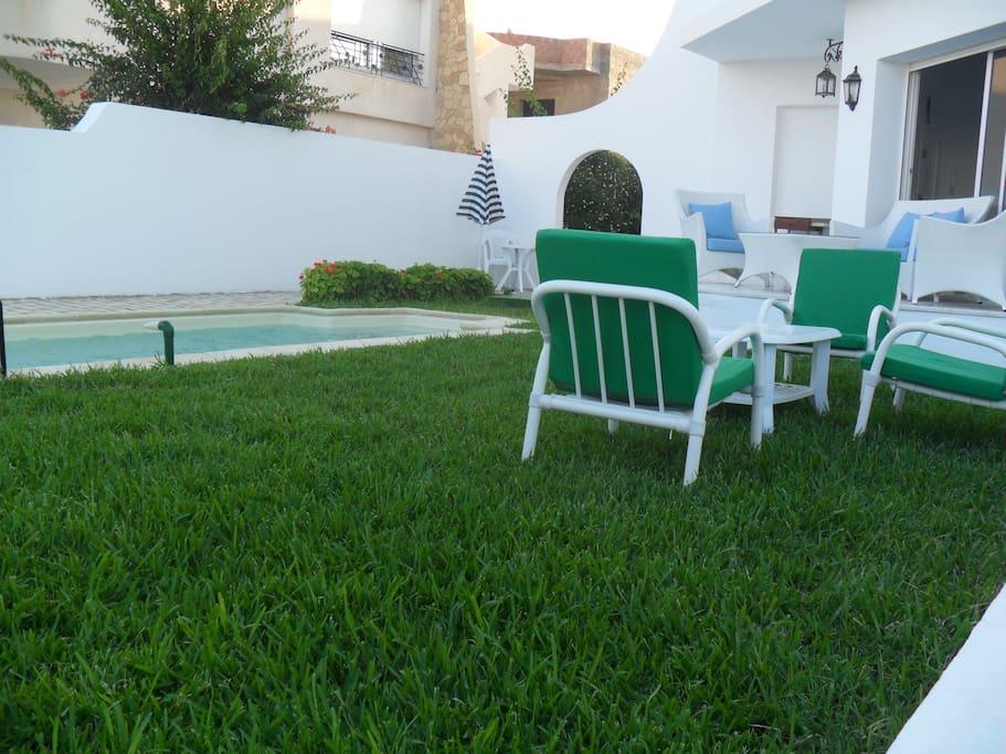 Pelouse autour de la piscine et terrasse