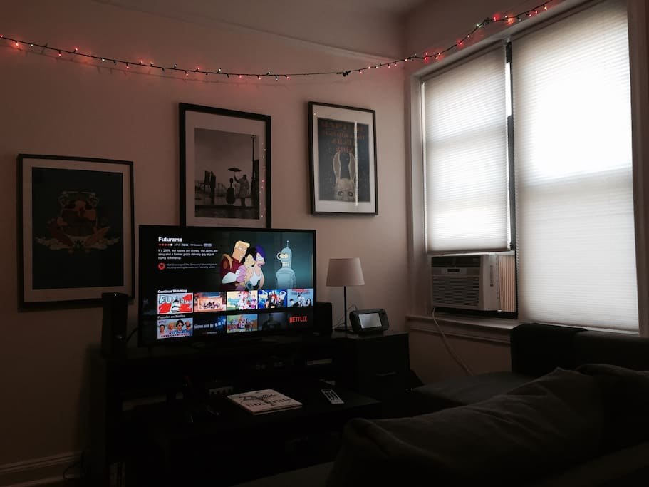 Living room (Christmas lights optional).