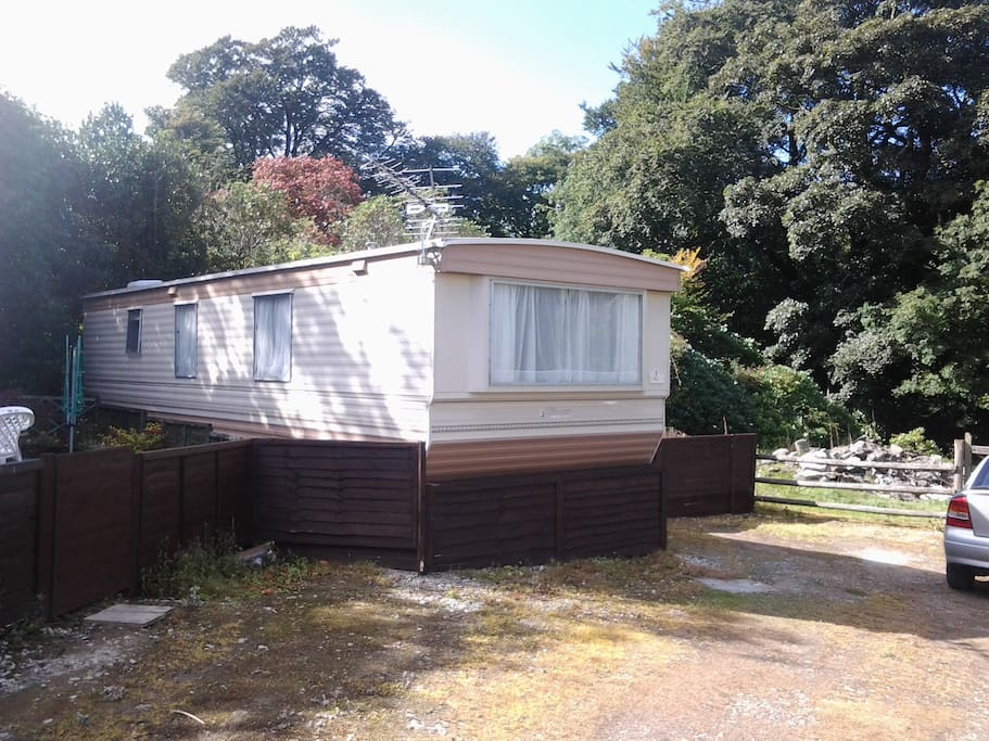 End of row caravan with parking, so nice and secluded.