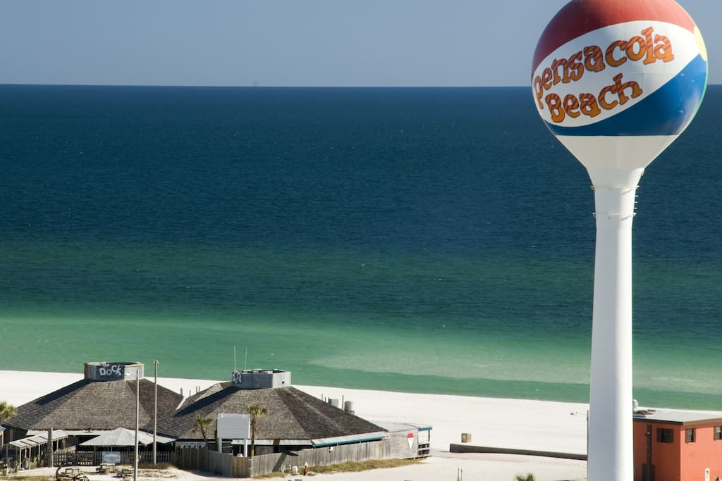 Pensacola Beach!  The Water Tower is the Icon for the Beach.  One of the most beautiul and whitest beach in the world.