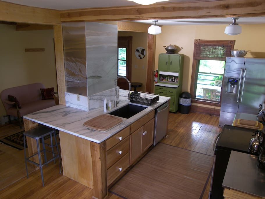 Left Wing kitchen, with aluminum artwork
