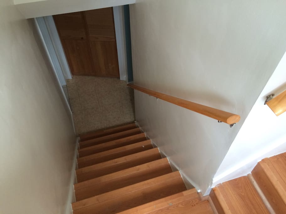 Entrance steps down to basement apartment