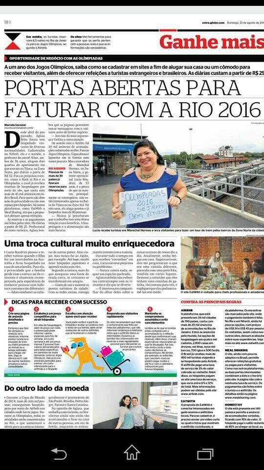Reportagem sobre nossa hospedaria em 23/08/15 .... Pq o suburbio tem valores que só o carioca conhece !! Venha conhecer também! !