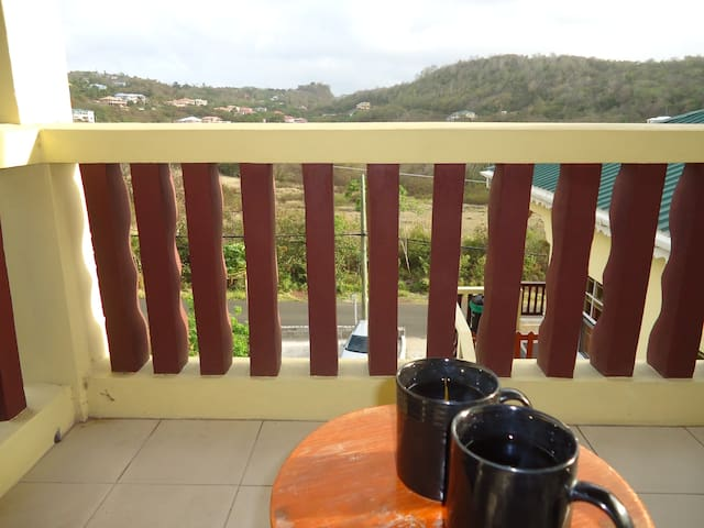 Morning coffee on one of two balconies
